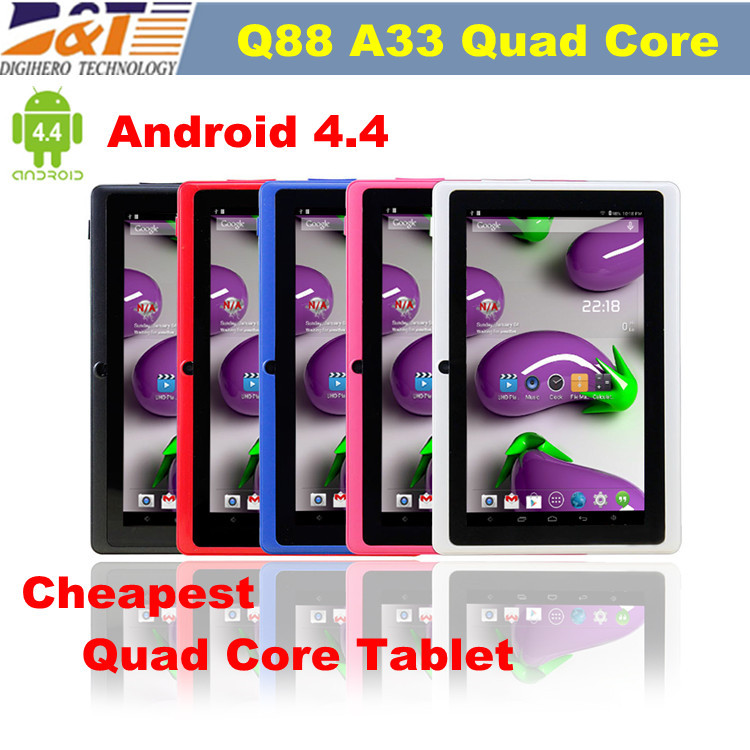 2015 New Cheap 7 inch Quad Core Android 4.4 tablet pc Q88pro Allwinner A33 1.5GHz 512M 8GB wifi Bleetooth Dual Camera tablets(China (Mainland))