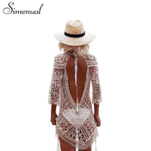 Buy Simenual Backless cut summer lace beach dresses ladies 2017 casual new hollow sexy hot women dress white pareos swimwear for $10.99 in AliExpress store