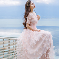 White Gauze Embroidery Stereo Embroider Dress V neck Petals Holiday Princess Dress To Restore Ancient Ways