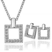 Free Shipping Hot New Fashion 18k gold plated jewelry set Quadrilateral edge Rhinestone necklace+earrings  Elegant SMTPS185(China (Mainland))
