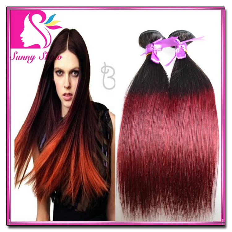 KBL Brazilian Ombre Hair Extensions Straight 3Bundles Two 2 Tone 1B/99J Ombre Hair Weft Tissage Bresilienne Ombre Hair Weave<br><br>Aliexpress