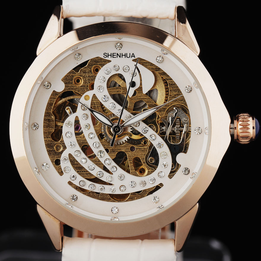 Top Fashion women dress watches luxury brand golden case swan rhinestone skeleton dial automatic mechanical leather band relojes<br><br>Aliexpress