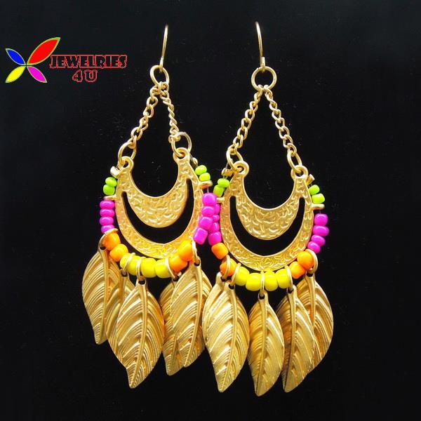 new arrival 2015 fashion designer golden leaves colorful beaded women's statement drop earring jewelry brincos de gota feminino(China (Mainland))