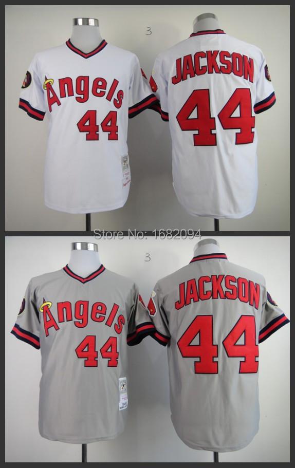 Men's California Angels #44 Reggie Jackson Throwback 1982 Home Baseball Jersey stitched S-3XL(order>5pcs-18%off)Free Shipping(China (Mainland))