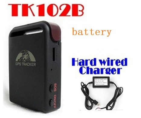 50% shipping fee 10 pieces 2013 New Arrival GPS Tracker TK102B + Car charger + Battery(China (Mainland))