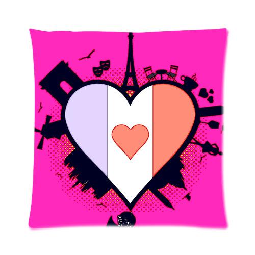 Paris Eiffel Tower Pillow 16 X 16: Vogue Designed Paris Eiffel Tower With Love Heart Picture