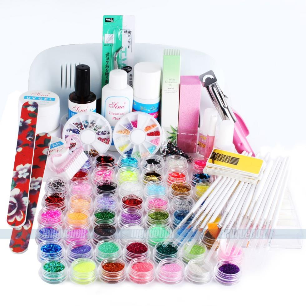 Nail Sets With Uv Lamp Gel Polish Manicure File 9W Curing
