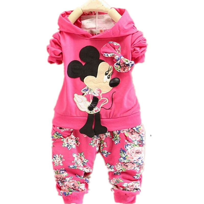 Cute Toddler Girl Clothing Sets Kids 2015 Spring Children Velvet Clothing Set Minnie mouse Baby Girls Tracksuits Hoodies + Pants(China (Mainland))