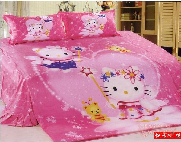 hot sale pink hello kitty comforter set princess queen size bedding set. Black Bedroom Furniture Sets. Home Design Ideas