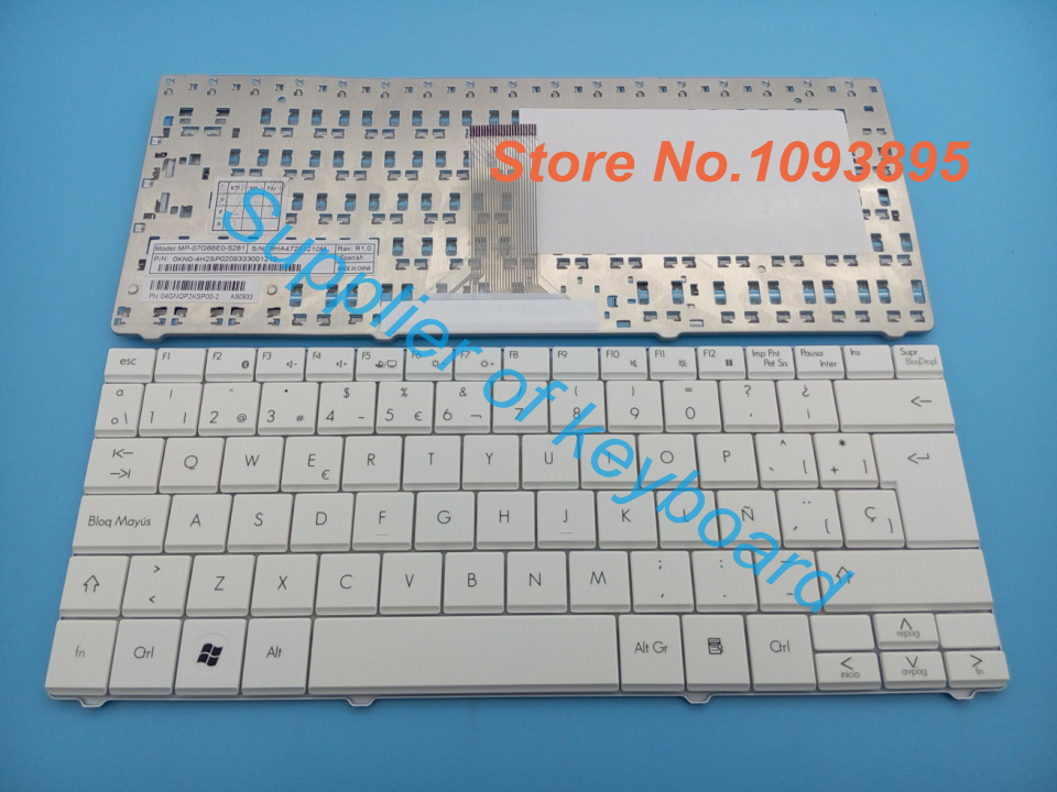 Free Shipping NEW Spanish keyboard for Packard BELL RS65 RS66-T-080 SP White Laptop Keyboard MP-07G66E0-5281(China (Mainland))