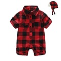 Baby Boys Rompers Children spring Clothing Set Newborn Baby Girl Clothes Cotton Lattice Long Sleeve Clothing