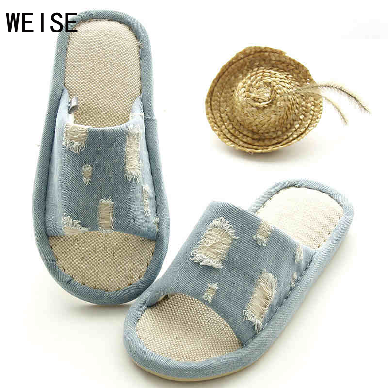 The New Free Shipping Men And Women Couple Denim Blue Flax Indoor Home Couple Models Summer Home Flax Slippers<br><br>Aliexpress