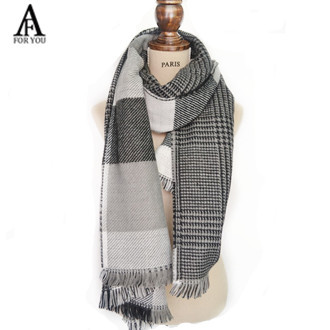 2015 Womens Scarf Long Fashion Casual Warm Cashmere Shawl black white Plaid Infinity Scarf Knitted Scarf Women Winter Scarves(China (Mainland))