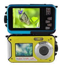 New 24MP Double écran appareil photo numérique étanche, 2.7 polegada + 1.8 polegada écrans HD 1080 P CMOS 16x Zoom caméscope mini caméra plongée(China (Mainland))
