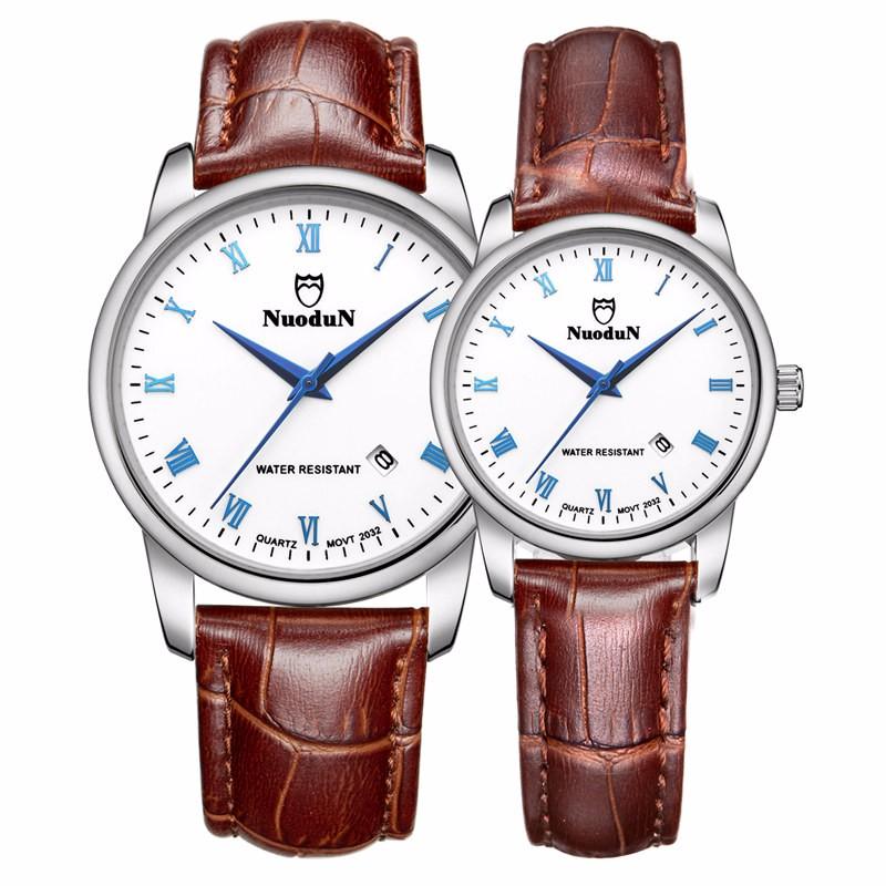 Пару Часов Nuodun Кварцевые Часы Авто Дата Водонепроницаемый Кожа Нато Ремешок 22 мм Старинные Часы Наручные Часы Relojes Де Mujer