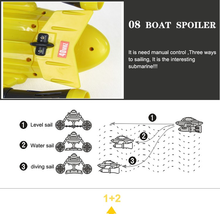 New Fashion Mini Yellow Color RC Submarine  Toys Model Remote Control Submarine Children boy baby Gift high performance