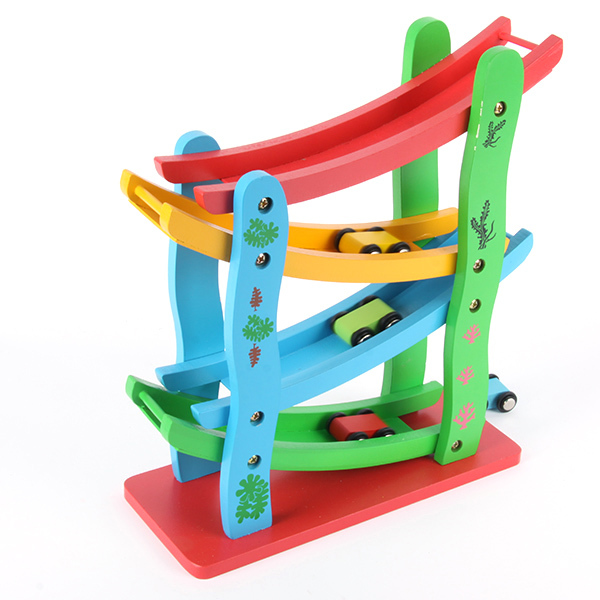 Cute Toddler Kids Wooden Car Set Toys Zigzag Drop & Slip Rolling Car Tracks Toys(China (Mainland))