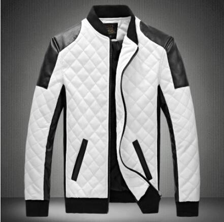 2015 New mens white leather jackets and coats jaqueta de couro masculina men biker jacket leather coats & jacket Size M-6XL(China (Mainland))