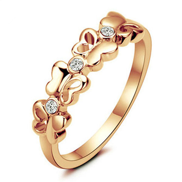 2015 New Fashion Women Jewelry 18K Gold Filled Butterfly Ring Daily Life Party Love Crystal Rings For Women anillos Gift HP062(China (Mainland))