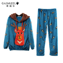 Cartoon song Riel autumn and winter long sleeved flannel tracksuit people men and women couple pajamas