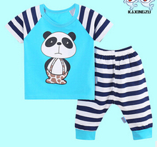2016 New Baby boy clothes t-shirt+pants suit Clothing Sets summer Star Printed Clothes newborn sport suits