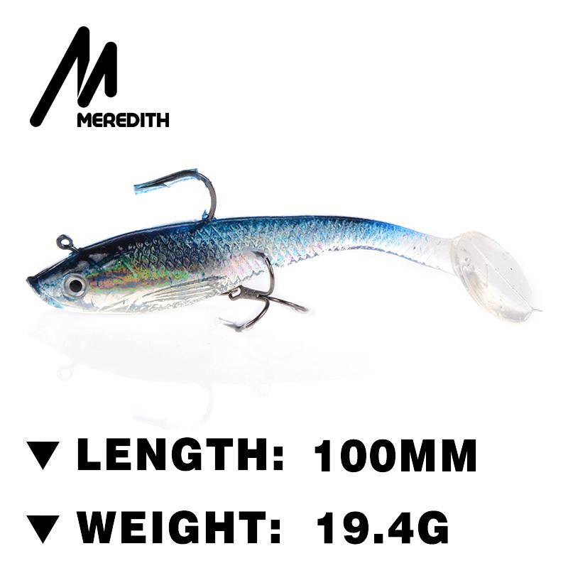 Meredith fishing 4pcs 19.4g 10cm JXJ15-10 long tail soft lead fish fishing lures luminous fishing tackle soft bait bass hook(China (Mainland))