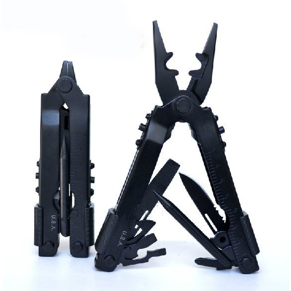 Free Shipping Imported 420 stainless steelPortable Multi-use multi-function pliers 8-in-1 car camping Survival gear  - black(China (Mainland))