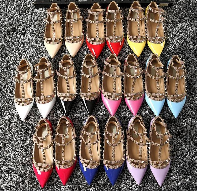 2015 Summer Ankle Straps Pointed Toes Women Flat Shoes Rock Spike Studs Genuine Leather Valentlno Ladies Shoes Plus Size 35-40(China (Mainland))