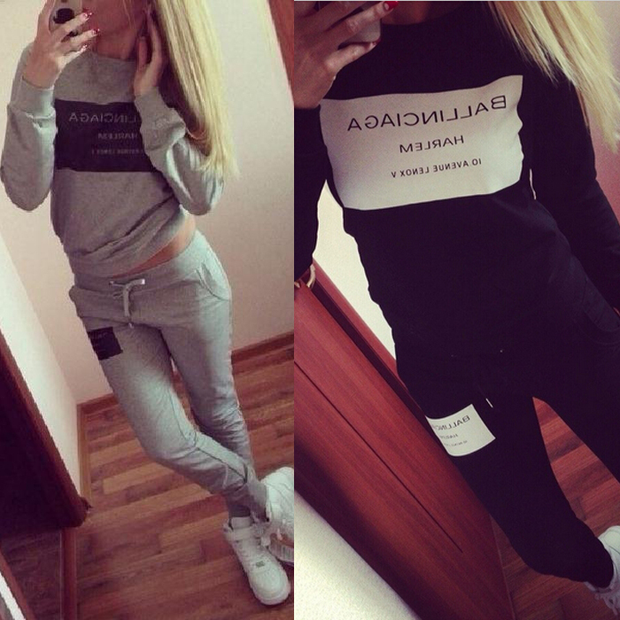 2015 Fashion Women Sportswear Printed Letter Fall Tracksuits Long-sleeve Casual Sport Costumes Mujer 2 Piece Set(China (Mainland))