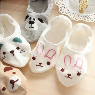 5 Color New Arrival Cute Cartoon Bear Cat Rabbit Chunmian Stealth Boat Socks/Short Feminino/Cartoon Animal Fas Print Socks Women