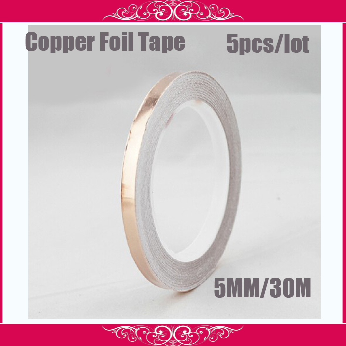 5pcs/lot5MM Adhesive Single Electric Conductive Copper Foil Tape for Stained Glass Work Electromagnetic Wave Radiation Mask,(China (Mainland))