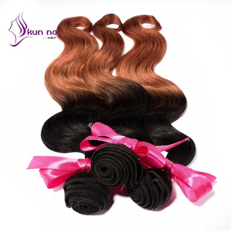 KUNNA 50g T1B-30 ombre human hair peruvian body wave virgin hair ombre peruvian hair extension 1 bundle