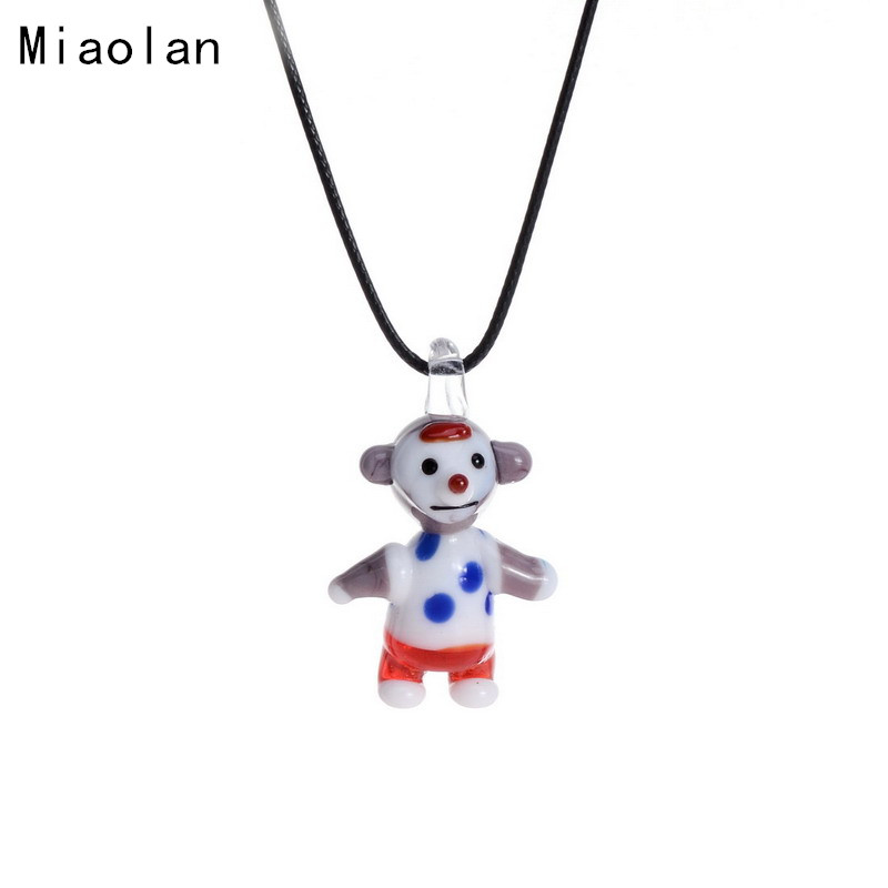 Leather Chains Monkey Animal Murano Glass Pendant Necklaces Jewelry Accessories Wholesale Cheap Aliexpress(China (Mainland))