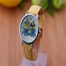 Alta calidad venta de cuero samll amarillo carácter mujeres niños ven vestido reloj de moda 2014