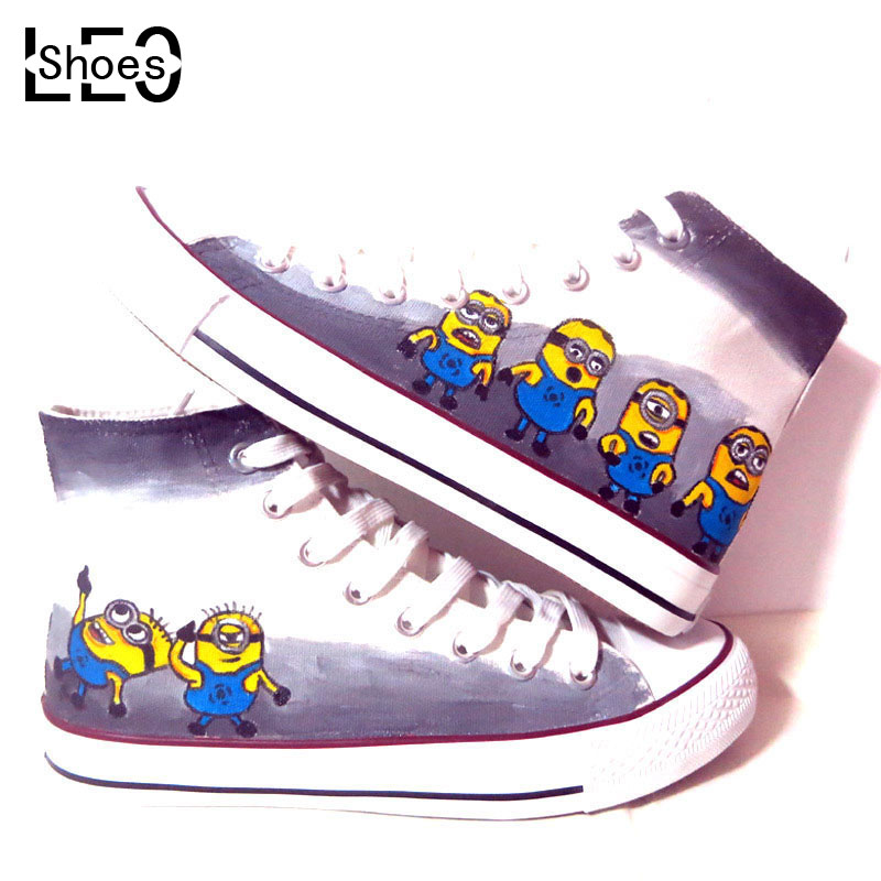 China Brand Shoes Anime Despicable Minions Graffiti Canvas Girls Boys Minion Child Kids Hand Painted Casual Flat Shoe - LEOSHOES Shenzhen Art Children Gifts Store store