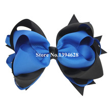 USD1.5/PC 5.5Inches Royal Blue/ Black Big Stacked Boutique Bows With 6cm Clips Grosgrain Ribbon Bows For Girls Hair Accessories