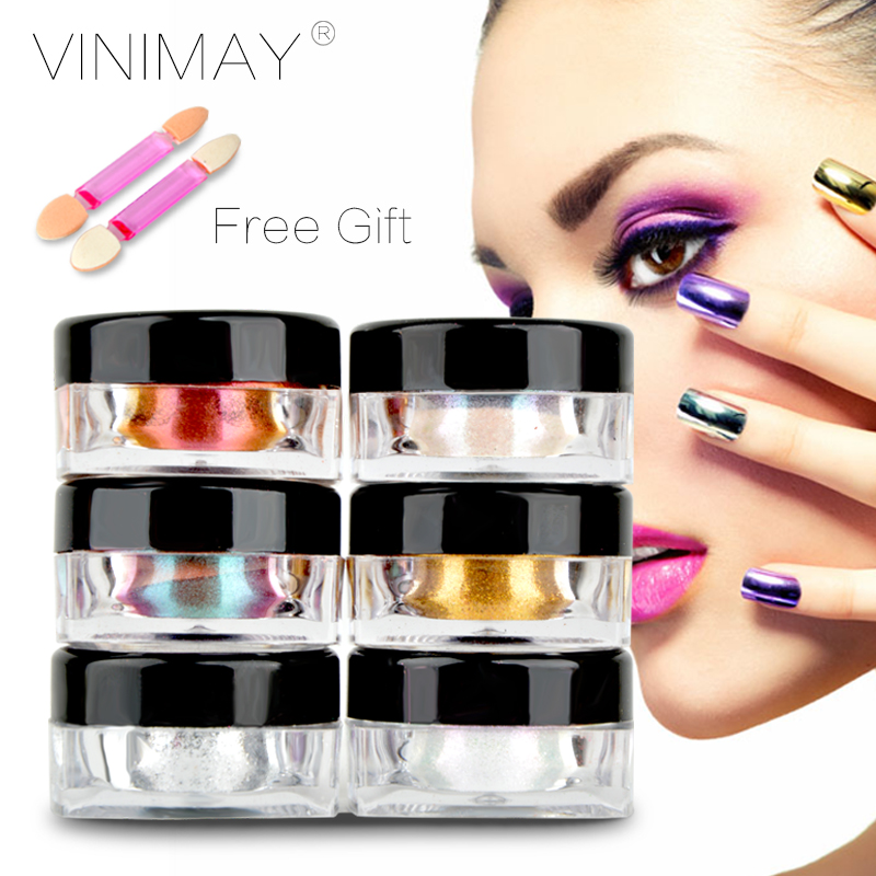 VINIMAY New Arrival 6 Color Mirror Nails Powder Gold Pigment Aluminium Powder Dust Chrome Pigment Glitters Nail Sequins Nails 2g(China (Mainland))