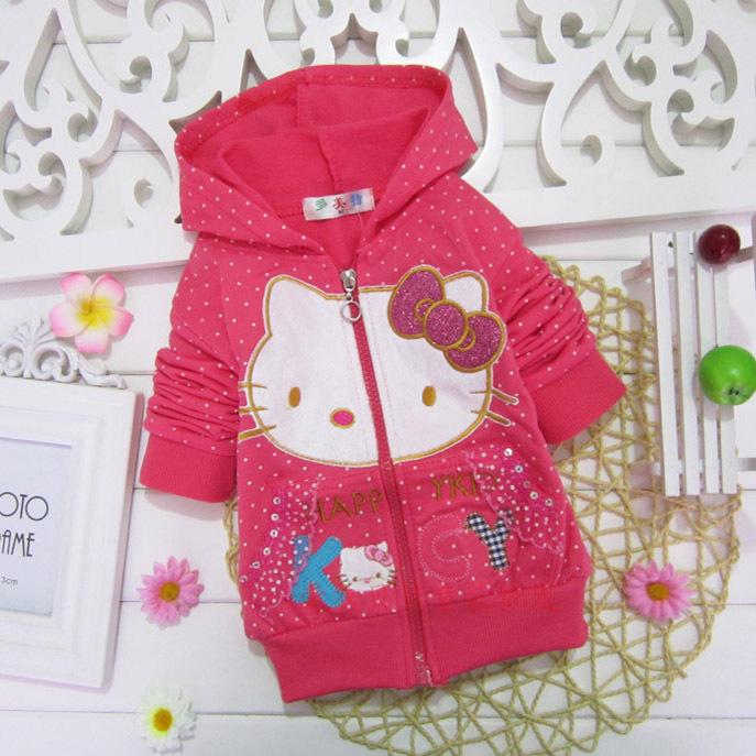 2016 Spring children girl cartoon hoodies sweatershirt Hello kitty outwear coat kids jacket zipper cardigan(China (Mainland))