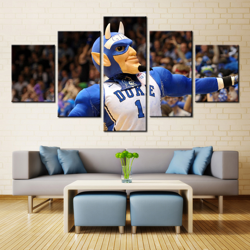 5 Pieces Frameless Duke Blue Devils Sports Team Wall Art Oil Large Giclee Painting Print On Canvas For Living Room(China (Mainland))