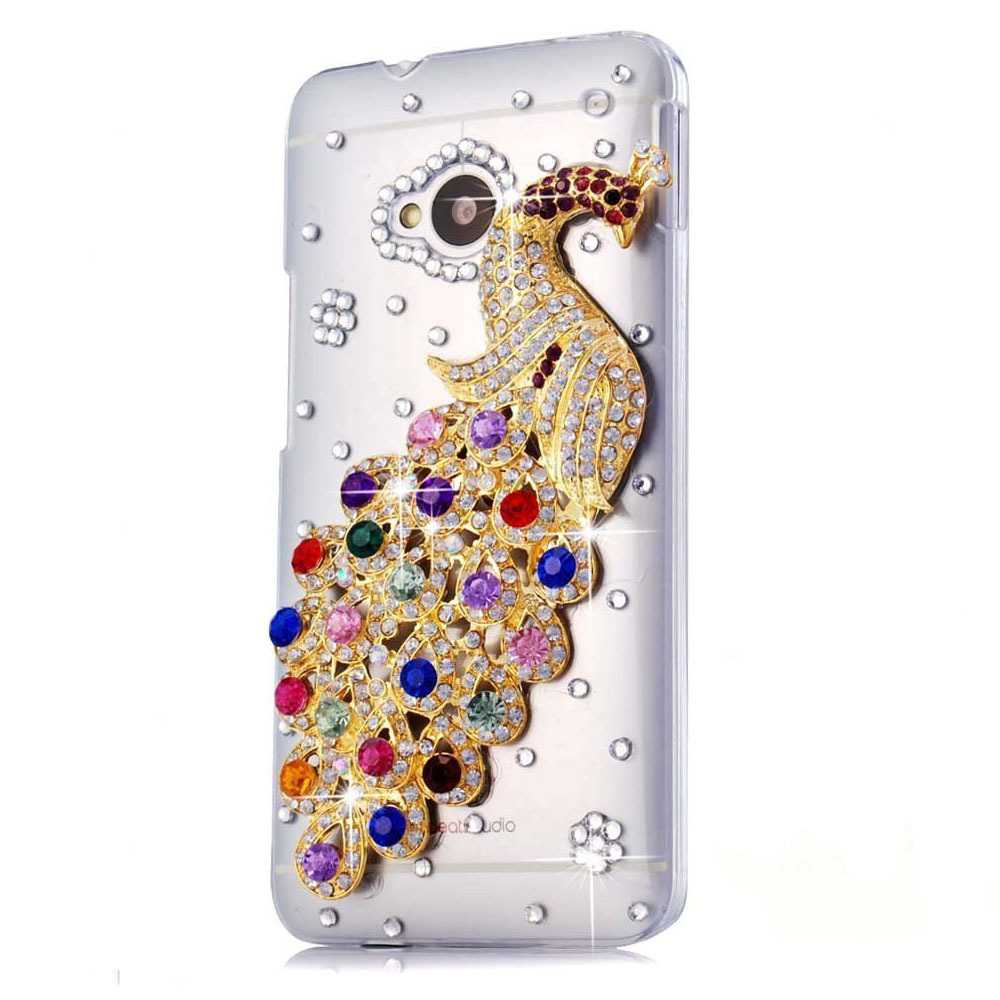 new 2015 fashion 3D peacock Handmade case for htc Desire 601/T326E/606W 600/609D/500 5088 cell mobile phone case(China (Mainland))