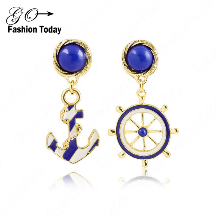 2015 New Hot shot Fashion Gold plated Stud Earrings Move Style Blue Anchor Earrings For Women E101