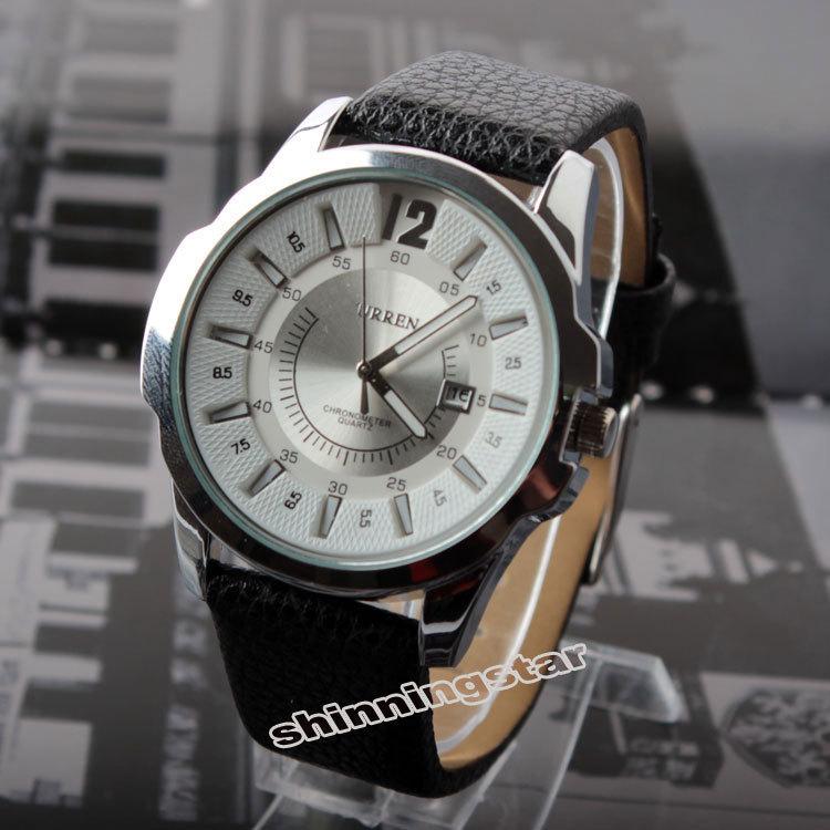 Free shipping Men Date Round Dial Chronometer Sport Leather Band Quartz WristWatch relogio masculino