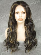 N6-4/27HY# Heidi Klum Promotion Long Water Wavy Synthetic Lace Front Wigs for Women Mixed Blonde Color
