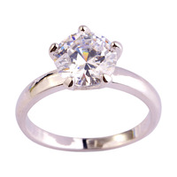 Wedding Rings Vogue Solitaire Shinning Round Reduce  White Topaz   Silver Ring Measurement 6 7 eight 9 10 eleven 12 Wholesale Free Transport