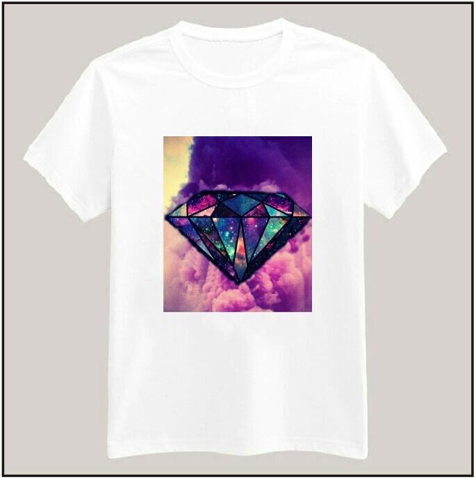 galaxy diamond print tshirt for women men cotton casual