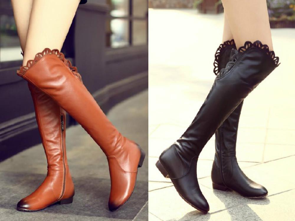 Фотография Shoes Woman Hot Sale Botas Femininas 2014 New Genuine Autumn Sexy Elegant Over-the-knee Women Boots Round Toe Square Heel Riding