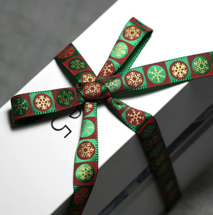 Free shipping green garishly gilding gold stamp Christmas decoration knitting belt cookie box package ribbon gift packing(China (Mainland))