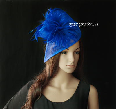 Royal blue sinamay feather fascinator hat for wedding,ascot races,kentucky derby,melbourne cup,party.(China (Mainland))