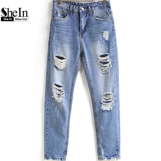 Shein 2016 весной женщин отверстия джинсовые брюки середине талии синий отбеленными ...