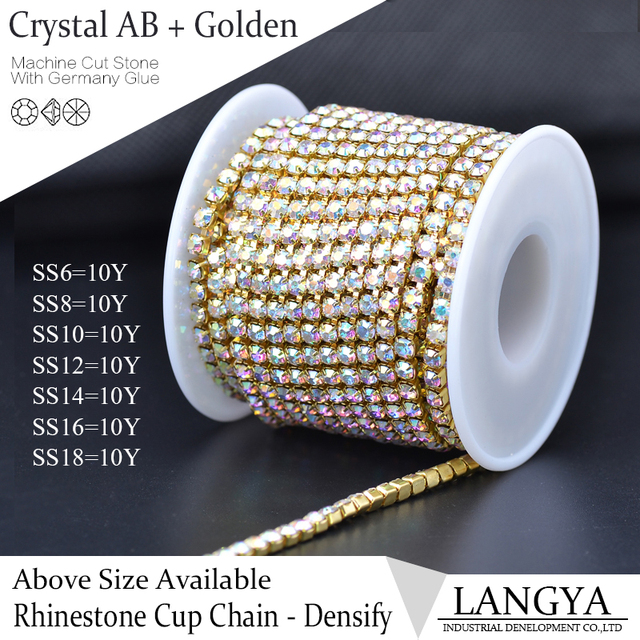 10yards/roll Golden Base Densify Claw Shiny Strass SS16 Crystal AB Rhinestone Cup Chain For Making Crafts